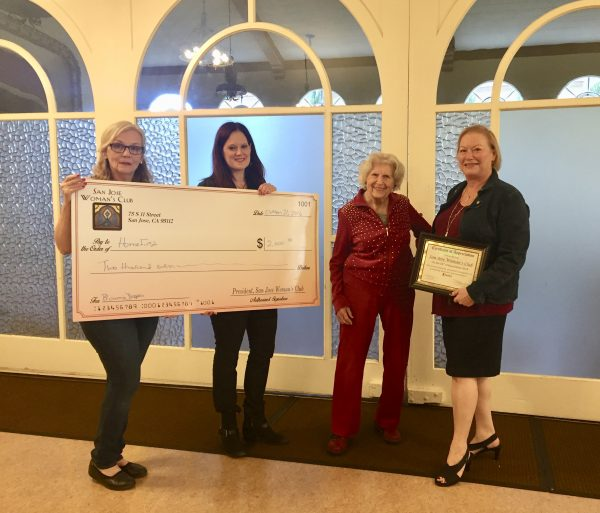 San Jose Woman's Club presents HomeFirst with a charitable donation from our Bloomie Dropper party