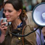 Picture of a woman with a megaphone
