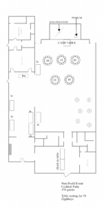 A sample layout for a cocktail party for 150 guests
