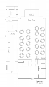 A sample layout for a quinceañera for 160 guests