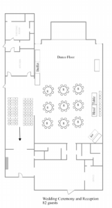 A sample layout for a wedding ceremony and reception for 82 guests