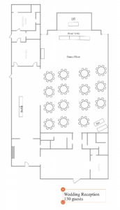A sample layout for a wedding reception for 130 guests