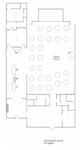 A sample layout for a wedding reception for 250 guests